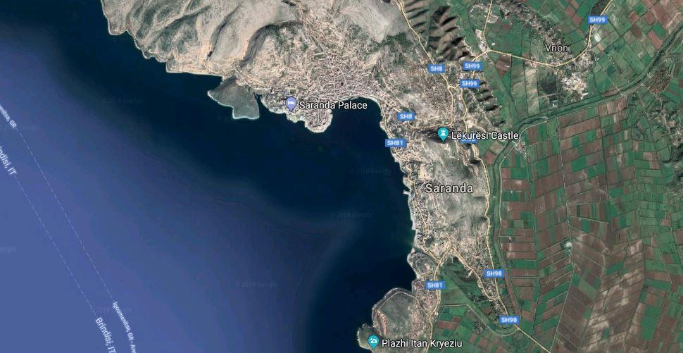 Visitare Saranda, Saranda dal satellite